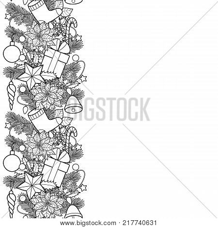 christmas ans new year seamless vertical border winter square black and white wallpaper for greeting