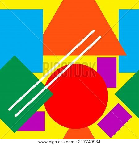 Seamless pattern of bright geometric shapes - square, circle, triangle, line. Background in  retro style 80s, 70s. Stock vector