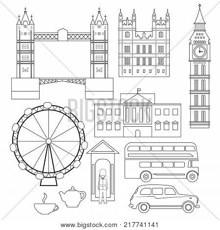 London architecture. Collection of London attractions isolated on white. Outline vector illustration.