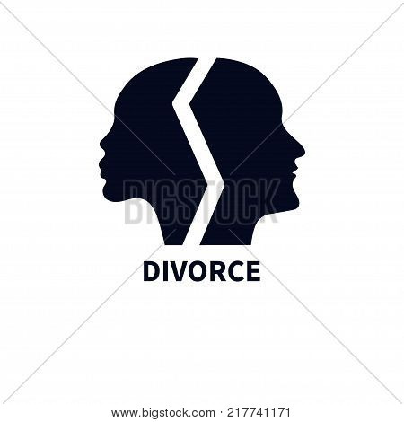 Female and male profiles of faces turned in different directions. Symbol of strife, divorce, conflict. Icon of therapist. Black silhouettes of heads men and women. Vector illustration.