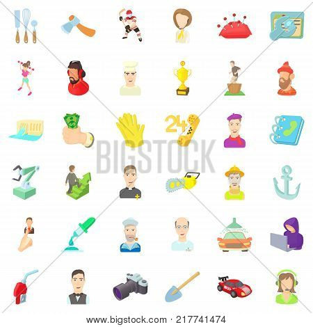 Employment icons set. Cartoon style of 36 employment vector icons for web isolated on white background