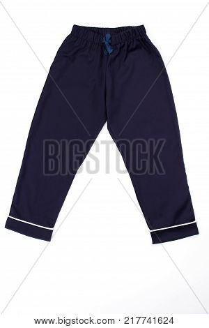 Navy pants with white stripes on cuffs. Pajama bottom on white background. Snug and cozy, vintage style.