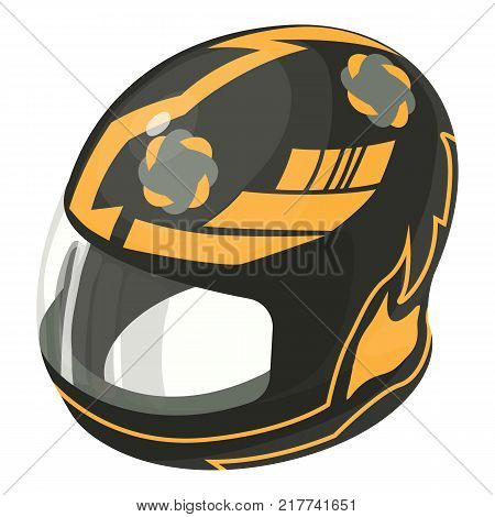 Helmet motorcycle orange icon. Isometric illustration of helmet motorcycle orange vector icon for web