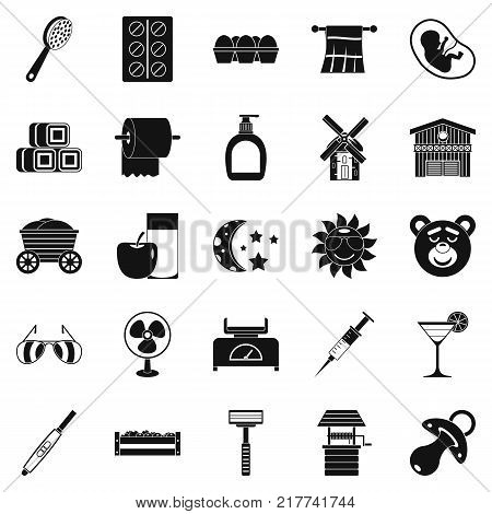 Rest at grandmother icons set. Simple set of 25 rest at grandmother vector icons for web isolated on white background