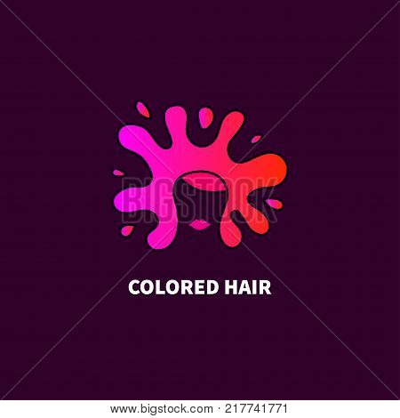 Crazy hair coloring. Logo shampoo, paint, colouring balm. Icon  hairdresser, stylist. Vector illustration