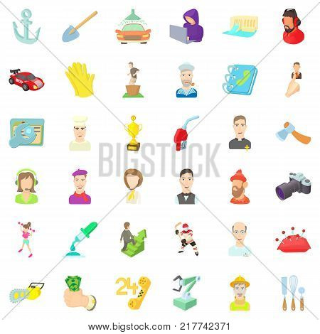 Profession icons set. Cartoon style of 36 profession vector icons for web isolated on white background