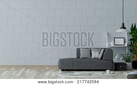 Empty living room with white wall and sofa in the background. 3D illustration interior designermodern living room style