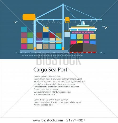Poster with Cargo Container Ship at a Seaport, Unloading Containers from a Ship in a Dock , International Freight Transportation and Shipping, Brochure Flyer Design, Vector Illustration