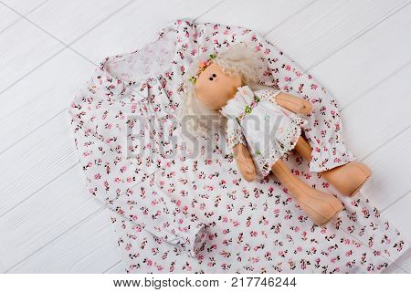 Nightgown and stuffed doll. Floral print and ruffles. Adorable gift set for daughter's birthday.
