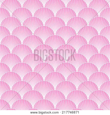 Traditional japanese sea pattern with circles. Mermaid pink scales. Fish scales. Vector illustration