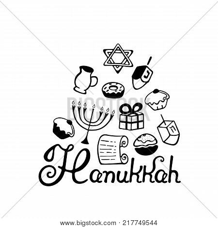 Hanukkah hand lettering. A set of traditional attributes of the menorah, dreidel, candles, olive oil, Torah, donuts in a doodle style.