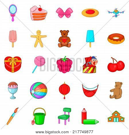 Children birthday icons set. Cartoon set of 25 children birthday vector icons for web isolated on white background
