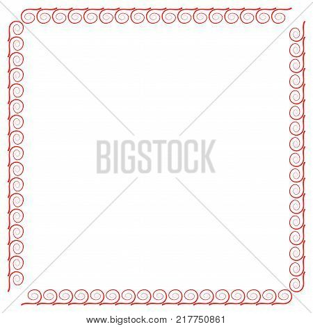 Frame red. Decoration concept. Border from waves. Color framework isolated on white background. Modern art scoreboard. Decoration banner rim. Stock vector illustration