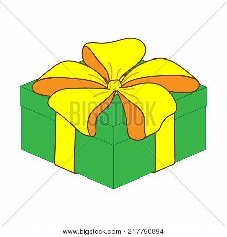 Close gift box with bow sign. Surprise symbol. Image of elegant present. Beautiful color icon isolated on white background. Logo for holiday celebration. Mark of decoration for gift. Stock vector