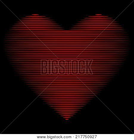 Heart of lines sign. Beautiful red icon isolated on black background. Lovely symbol. Logo for romantic holiday celebration. Image of romance. Mark of decoration for love. Stock vector illustration