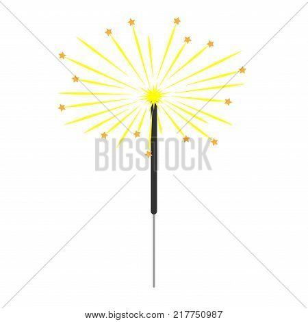 Sparkler sign with stars. Celebration symbol. Image of bengal light. Beautiful colorful icon isolated on white background. Logo for holiday celebration. Mark of spark for entertainment. Stock vector