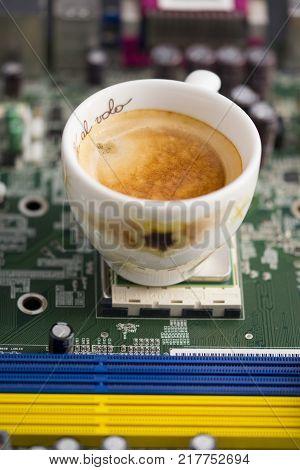 break espresso coffee in a technologic industry