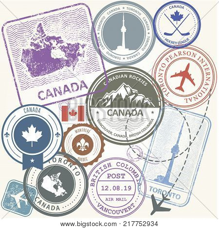 Canada travel stamps set - journey symbols of Toronto Canada and Quebec