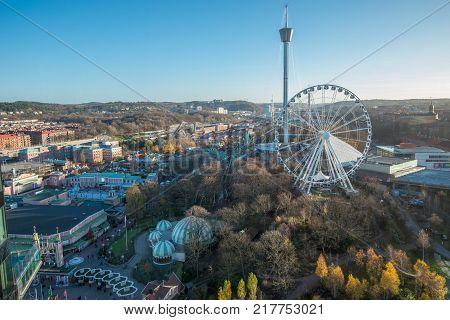 GOTHENBURG - NOVEMBER 17, 2013: Aerial view of Liseberg in Gothenburg. Liseberg is Sweden's largest and most popular amusement park.
