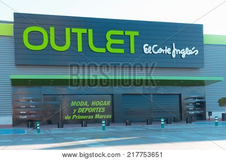 FINESTRAT, SPAIN - DECEMBER 6, 2017: Outlet of El Corte Ingles store in Finestrat, Spain. It is the biggest department store group in Europe