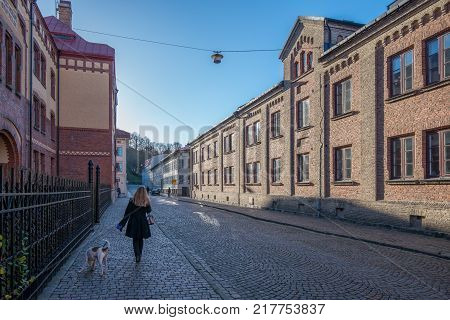 GOTHENBURG, SWEDEN - NOVEMBER 17, 2013: Woman walks a dog in Haga, Gothenburg. Haga is a historic residential area, which has become fashionable and popular among tourists.