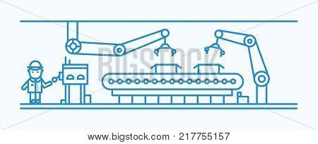 Industrial belt conveyor equipped with robotic arms conveying boxes and manufacturing factory worker in hard hat standing and controlling process. Monochrome vector illustration in line art style