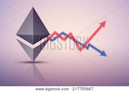 Background of Ethereum exchange trading. Time to market trading. Profit and loss. Editable Vector Illustration