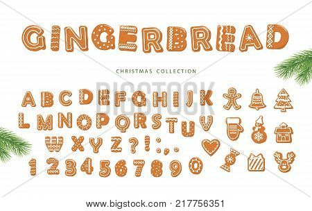Christmas cartoon big set. Gingerbread font and different cookies collection. Vector