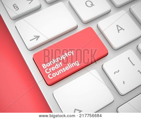 Conceptual Keyboard Keypad Showing the Message Bankruptcy Credit Counseling. Message on Keyboard Red Key. Closeup View on the Conceptual Keyboard. 3D Render.
