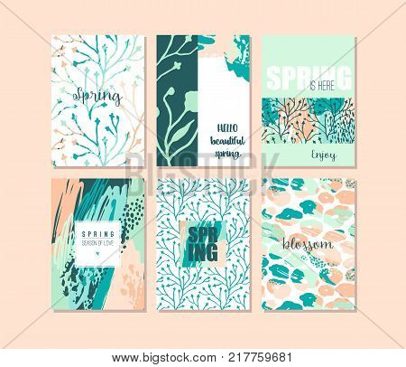 Set of abstract creative Spring cards. Fresh colors. Hand drawn art texture and floral elements. Modern and stylish abstract templates for poster, cover, invitation design.
