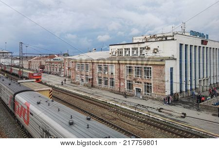 Perm, Russia, June 2017. The project is traveling in Russia. The Perm II Perm Vtoraya Railway Station. the soutern track yard