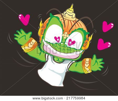 Crazy and falling in love Hug me Thai giant cartoon acting character vector design background isolate has clipping paths.