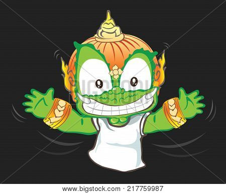 Happiness hand to flying or Hug me Thai giant cartoon acting character vector design background isolate has clipping paths.