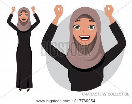 Arab women character is happy and smiling. Cartoon style man. Emotion of joy and glee on the women face. The women portrait.