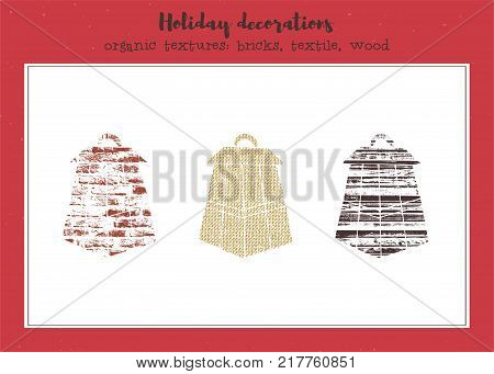 Vector textured lanterns, stylized imprints on textile, bricks and wood planks. Colored illustration, isolated elements for winter holiday cards or stamp brushes creating.