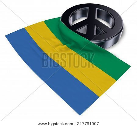 peace symbol and flag of gabon - 3d rendering