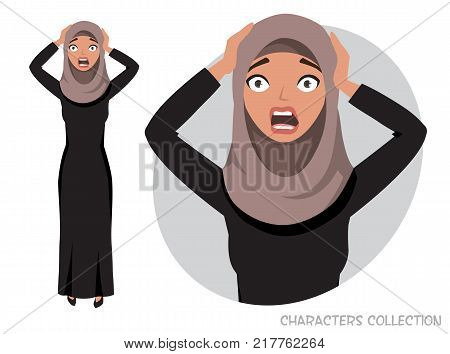 Surprised shocked eastern woman. Portrait of a beautiful Arabian Woman wearing Hijab, Muslim Woman wearing Hijab