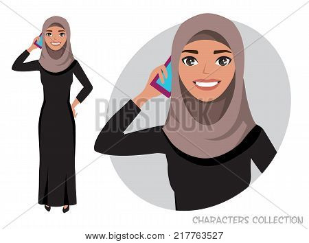Arab women character is talking on the phone. Vector character in cartoon style. Muslim Woman wearing Hijab