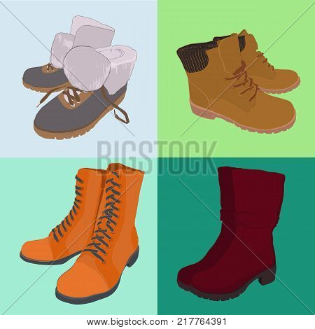 Vector illustration of Set hand drawn colorful women Footwear in isometric style. Shoes Casual and sport style, gumshoes, boots for cold seasons. Design isolated object.