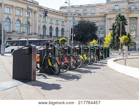 Bucharest Romania October 10 2017 : Bicycle rental in the Revolution Square in Capital city of Romania - Bucharest