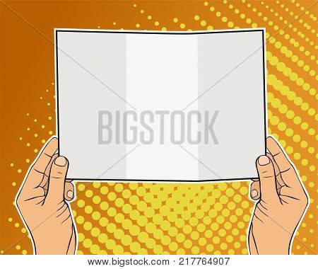 Male hand of caucasian man holding a card. Copyspace for your text or ad