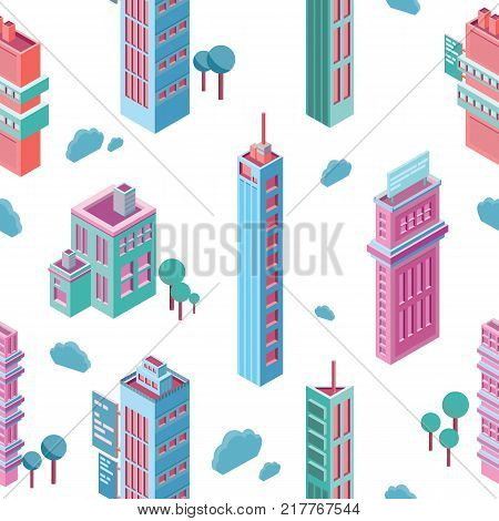 Seamless pattern with isometric city buildings and skyscrapers on white background. Backdrop with modern downtown or megalopolis houses. Colorful vector illustration for wallpaper, textile print