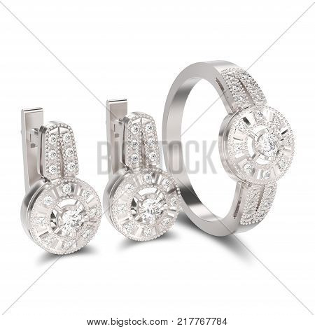 3D illustration isolated set of white gold or silver decorative diamond earrings with hinged lock and decorative diamond ring with shadow on a white background