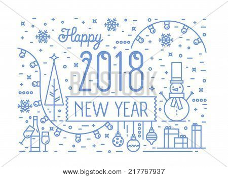 Happy New 2018 Year horizontal banner, greeting card or postcard template with holiday decorations drawn with blue contour lines on white background. Festive vector illustration in lineart style
