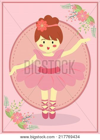 Cute Ballerina girl with pink dress tutu dancing ballet on pink theme flower background vector illustration.