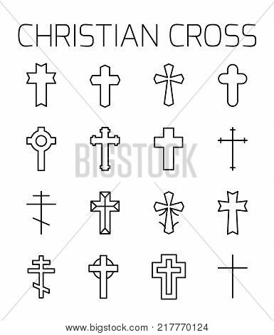 Christian cross related vector icon set. Well-crafted sign in thin line style with editable stroke. Vector symbols isolated on a white background. Simple pictograms.