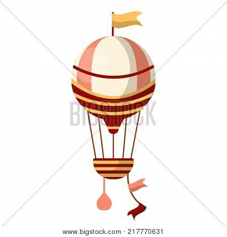 Fancy air balloon with beige flag on top, striped basket and pink bag with sand isolated cartoon flat vector illustration on white background. Vintage aircraft with limited quantity of passengers.
