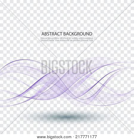 Abstract smooth color wave vector Curve flow blue motion illustration Smoke design Vector lines.