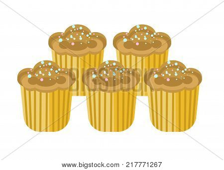 Delicious sweet cupcakes with tender chocolate cream and colorful sprinkles on top isolated cartoon flat vector illustration on white background. Tasty bakery products wrapped in golden paper.