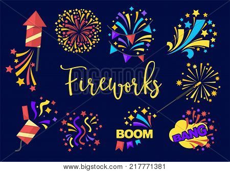 Bright festive fireworks with rockets and confetti with loud sound boom isolated cartoon vector illustrations set on dark navy background. Colorful explosions with shiny sparks that spreads around.